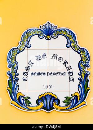 India, Goa, Panjim, Fontainhas, Casa de Morada 1831 house name plaque in old Portuguese Latin Quarter - Stock Photo