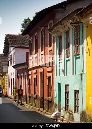 India, Goa, Panjim, Fontainhas, Rua Sao Tome, colourful houses in old Portuguese Latin Quarter - Stock Photo
