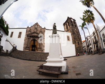 The church El Salvador at the Plaza Espana in Santa Cruz on the Canary Island La Palma - Stock Photo
