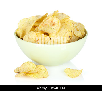 Potato chips in bowl. Isolated on white background - Stock Photo