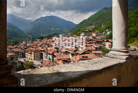 Bagolino as seen from Bagolino Cathedral, Brescia, Lombardy, Italy - Stock Photo