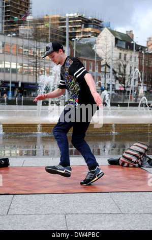 Street Dancer And Free-Runner Performing . - Stock Photo