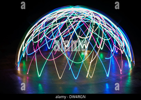 light patterns multi-coloured light dome - abstract painting with light, light painting - Stock Photo