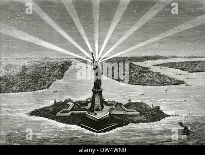 United States. Manhattan. New York. Statue of Liberty. Engraving. Stock Photo