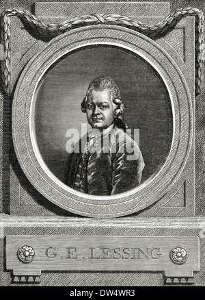 Gotthold Ephraim Lessing (1729-1781). German writer. Portrait. Engraving. - Stock Photo