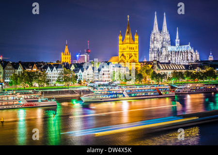 Cologne, Germany cityscape over the Rhine River. - Stock Photo