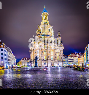 Dresden, Germany at Neumarkt Square and Frauenkirche at night. - Stock Photo