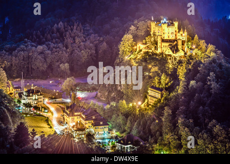 Hohenschwangau Castle at night in the Bavarian Alps of Germany. - Stock Photo