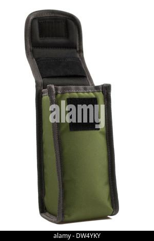 Small green cordura nylon case with velcro flap - Stock Photo