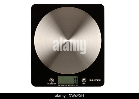 Salter disc type electronic kitchen weighing scales - Stock Photo