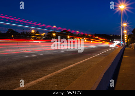 Car light streaks on the Ingraham Street Bridge. San Diego, California, United States. - Stock Photo