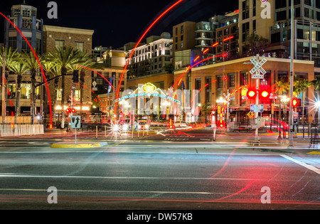 Gaslamp Quarter sign in the background. A variety of lights in downtown San Diego, California, USA. - Stock Photo