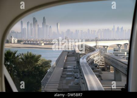 DUBAI - The view from the PALM monorail heading to Dubai city - Stock Photo