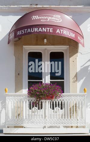 Balcony with window box Albufeira old town, Algarve, Portugal, Europe - Stock Photo