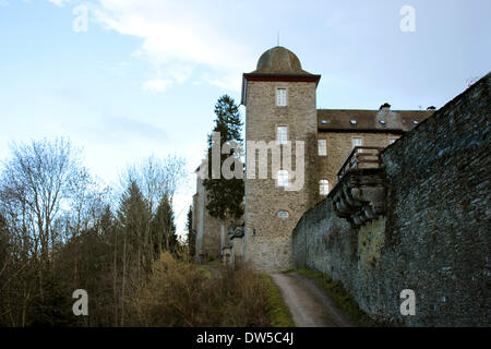 Castle Schnellenberg with Tower and outside wall in Attendorn - Stock Photo