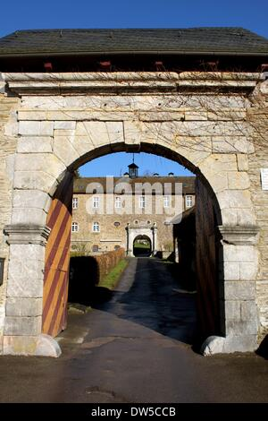 The Gates and Floors into the Castle Schnellenberg in Attendorn - Stock Photo