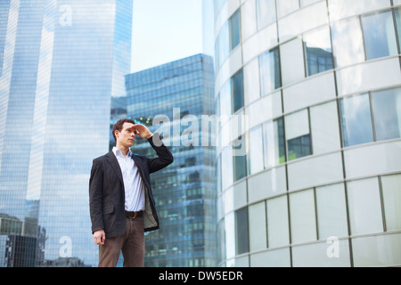 career, young businessman looking forward - Stock Photo