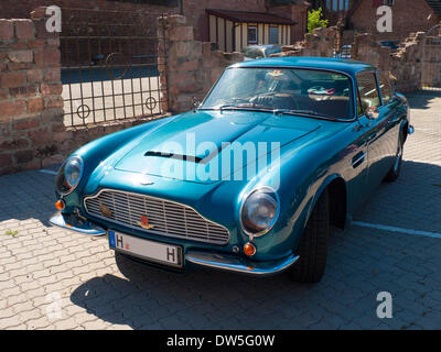 Aston Martin DB5 (1963 to 1965), in a parking lot, Hesse, Germany - Stock Photo
