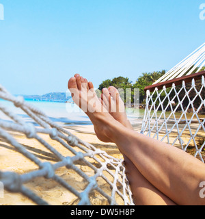 relax on the beach in hammock - Stock Photo