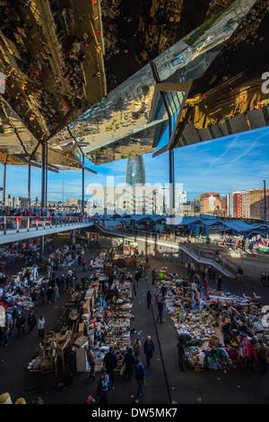 Interior view of the renewed Els Encants flea market, Barcelona, Catalonia, Spain - Stock Photo