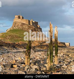 Lindisfarne Castle on Holy Island, Northumberland, England. Spring (April) 2013. - Stock Photo