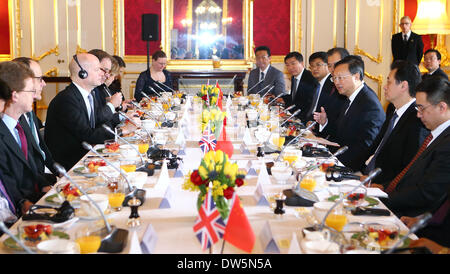 London, UK. 27th Feb, 2014. British Foreign Secretary William Hague (3rd L) meets with Chinese State Councilor Yang - Stock Photo
