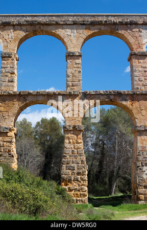 Pont del Diable, part of the roman aqueduct that supplied water to the ancient city of Tarraco in the Iberian Peninsula. - Stock Photo