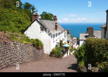 Clovelly a Unique Private Village with Cobbled Main street in Torridge District Devon.England - Stock Photo