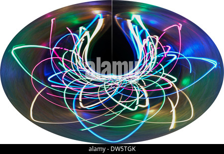 light patterns multi-coloured light dome distorted - abstract painting with light, light painting - Stock Photo