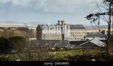 Her Majesty's Prison Dartmoor at Princetown in the wide majestic landscape of central Dartmoor Devon UK - Stock Photo
