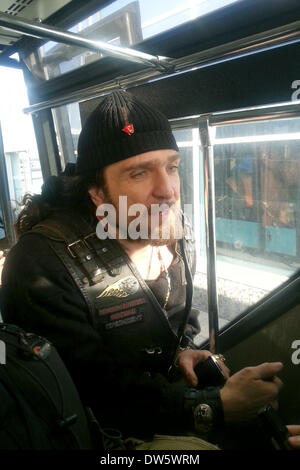 Moscow, Russia. 28th Feb, 2014. Alexander Zaldostanov - Nickname 'Surgeon' - the head of the Russian motorcycle - Stock Photo