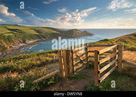 Kissing Gate on the South West Coast Path near Crackington Haven, Cornwall, England. Summer (August) 2013. - Stock Photo