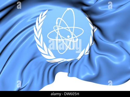 International Atomic Energy Agency Flag. Close Up. - Stock Photo