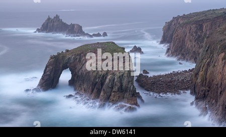 Dramatic cliffs at Land's End in Cornwall, England. Autumn (October) 2013 - Stock Photo
