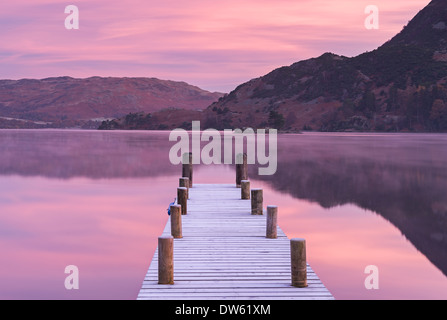 Frosty jetty on Ullswater at dawn, Lake District, Cumbria, England. Winter (November) 2013. - Stock Photo