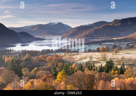 Ullswater from Gowbarrow Fell on a frosty autumn morning, Lake District, Cumbria, England. November 2013. - Stock Photo