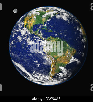 Earth and moon as seen from space featuring the western hemisphere. - Stock Photo