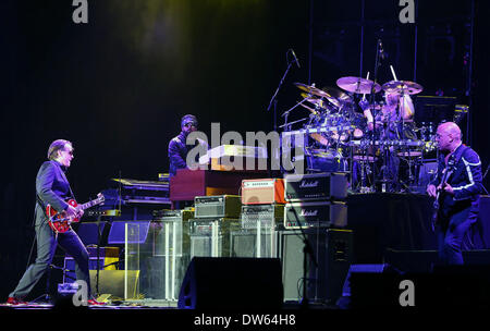 Frankfurt, Germany. 28th Feb, 2014. U.S. blue rock guitarist and singer Joe Bonamassa performs in Jahrhunderthalle - Stock Photo