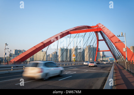 Seogang Bridge in Seoul, South Korea. - Stock Photo