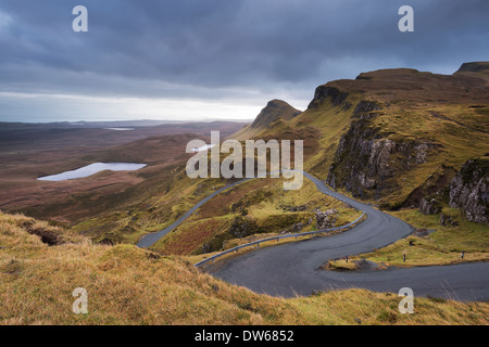 Winding Road leading through mountains, Quiraing, Isle of Skye, Scotland. Winter (December) 2013. - Stock Photo