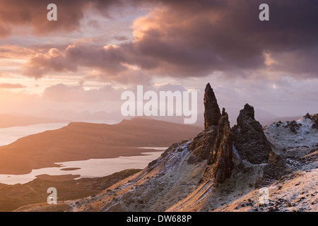 Beautiful sunrise over a snow dusted Old Man of Storr, Isle of Skye, Scotland. Winter (December) 2013. - Stock Photo