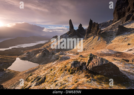 Dramatic scenery at the Old Man of Storr, Isle of Skye, Scotland. Winter (December) 2013. - Stock Photo