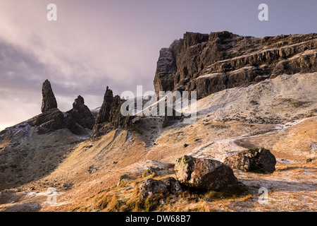 Dramatic mountain scenery of The Storr in winter time, Isle of Skye, Scotland. Winter (December) 2013. - Stock Photo