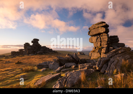 Gorgeous evening light at Great Staple Tor in Dartmoor, Devon, England. Winter (January) 2014. Stock Photo