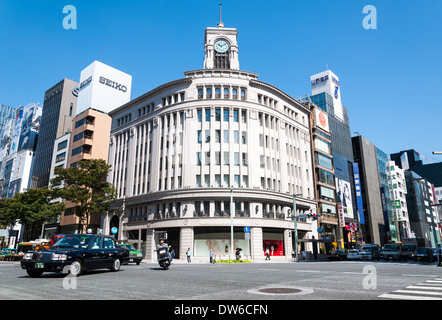 The Ginza shopping district in Tokyo, Japan. - Stock Photo