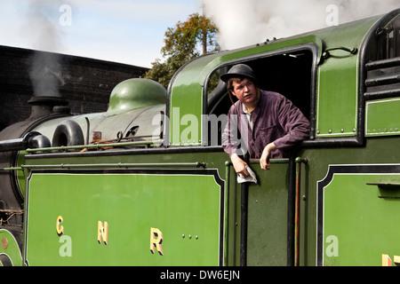 A steam train driver 1940's weekend - Stock Photo