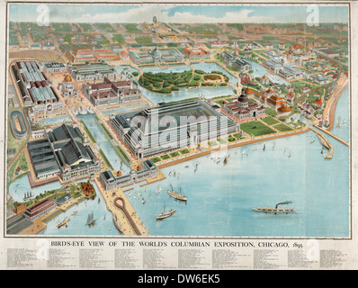 Bird's-eye view of the World's Columbian Exposition, Chicago, 1893 - Stock Photo