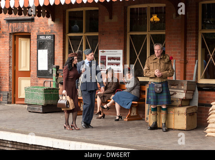 A general scene at Weybourne Railway Station 1940's weekend - Stock Photo