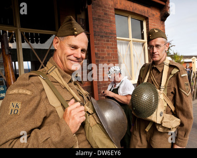 The Home Guard at the Railway Station - Stock Photo