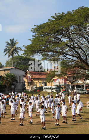 Sri Lanka, Galle, schoolchildren, street scene, - Stock Photo